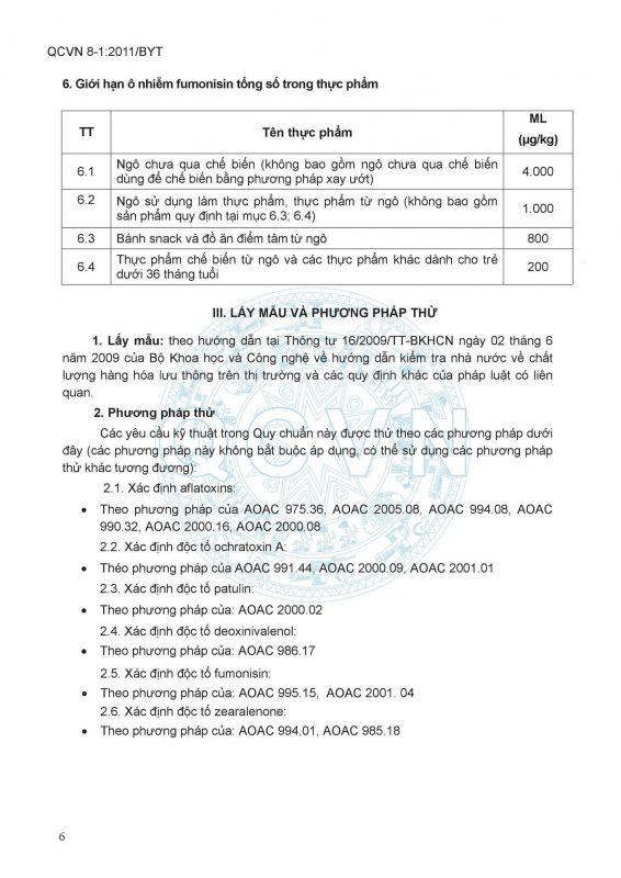 QCVN-8-1_2011 Bộ Y Tế - Giới hạn ô nhiễm vi nấm