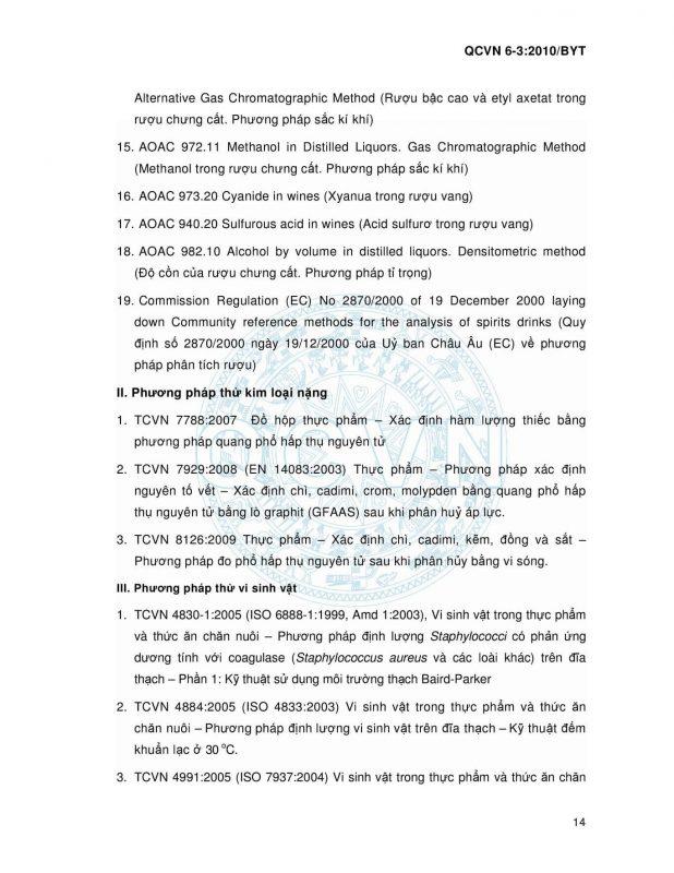 Quy chuẩn Việt Nam 6-3_2010 Bộ Y Tế - Sản phẩm đồ uống có cồn
